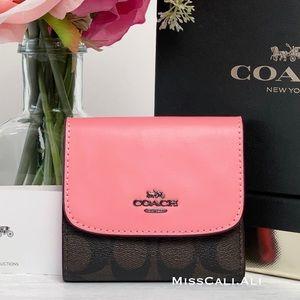 NWT COACH Signature Canvas Pink Lemonade Small Wallet
